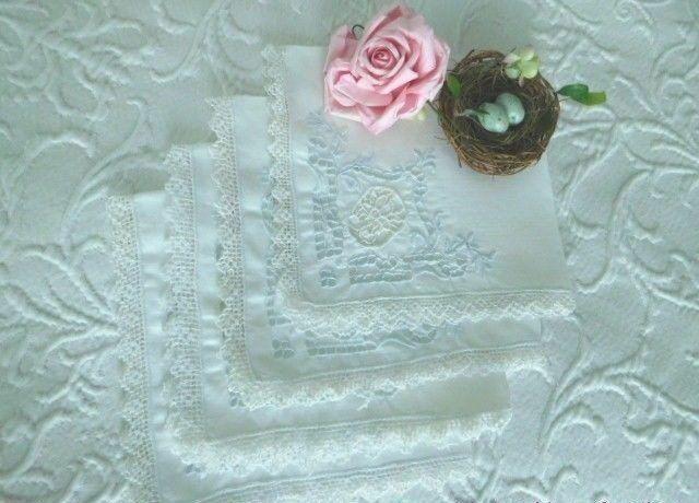 4 AnTiQuE European LINEN TEA NAPKINS * VALENCIENNES LACE, Embroidery & CUTWORK