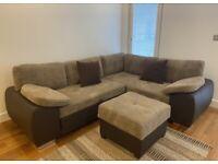 Enzo corner sofa bed sofa with storage jumbo cord leather brown