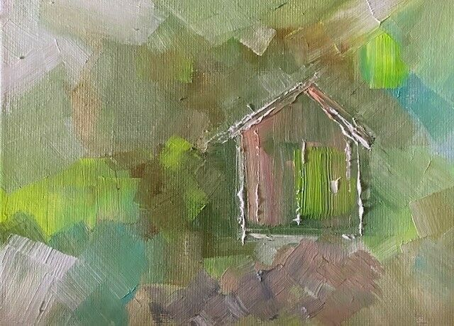 Original Fine Art Contemporary Painting - SECLUDED BEACH HUT - Expressionism - $5.99
