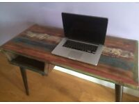 Wood desk with iron legs