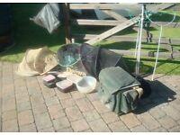 Daiwa fishing box plus nets and bait boxes