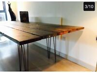 Huge Dining Table 9ft X 3 ft Eames Legs Recently Resanded and Waxed