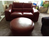 2 Seater Red Leather Sofa with Footstool