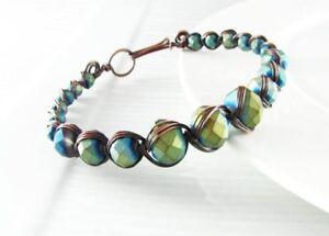 Handmade copper Egyptian style wire wrap bracelet