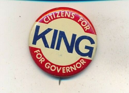 """1962 John King for governor 1 1/4"""" litho New Hampshire NH campaign button"""