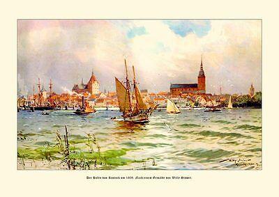 Deutsches Reich Rostock Hafen 1909 Zweimaster Marine Segel Gemälde Stöwer 17 LW