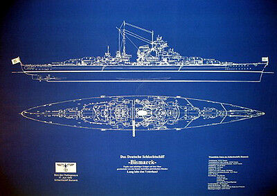"Ships Plan WW2 German Battleship BISMARCK Blueprint Drawing 24""x36""  (025)"