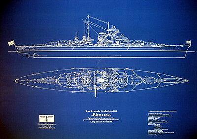 "WW2 German Battleship BISMARCK Print Blueprint Plan 24""x36""  (025)"