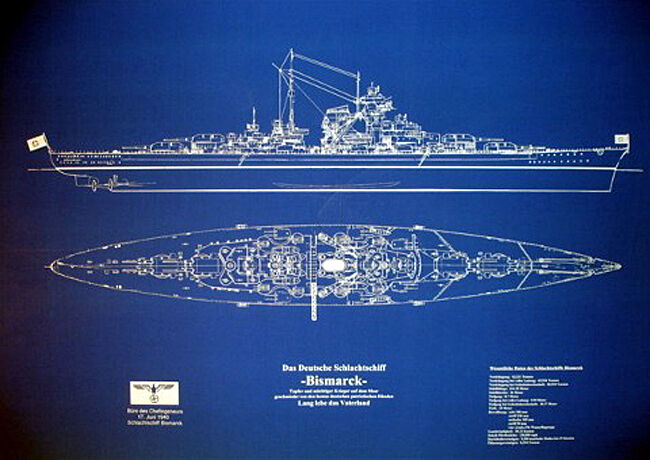 "Ships Plan WW2 Sunk Nazi Battleship BISMARCK Blueprint Drawing 24""x36""  (025)"
