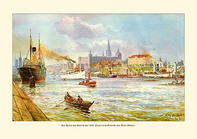 Deutsches Reich Stettin Hafen 1909 Gemälde W. Stöwer 19