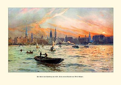 Deutsches Reich Hamburg Hafen 1909 Gemälde v. Stöwer 7
