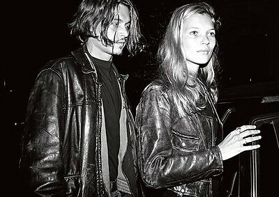 Johnny Depp and Kate Moss Leather BW POSTER