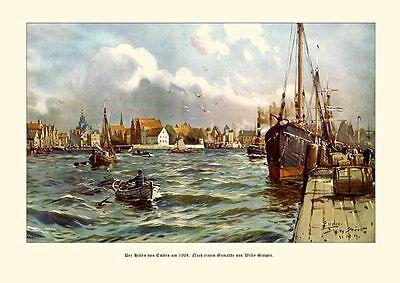 Deutsches Reich Der Hafen von Emden Gemälde v. Stöwer 6