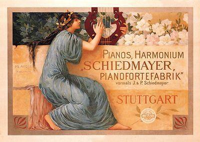 Piano Harmonium Schiedmayer Stuttgart Plakat Faksimile 77 auf Büttenpapier