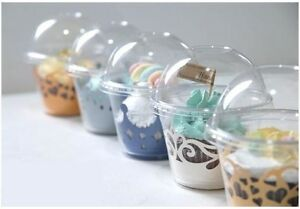 100pcs Clear Cupcake Container Box (Cup+Top) Muffin/Browning/Chocolate/Cookies
