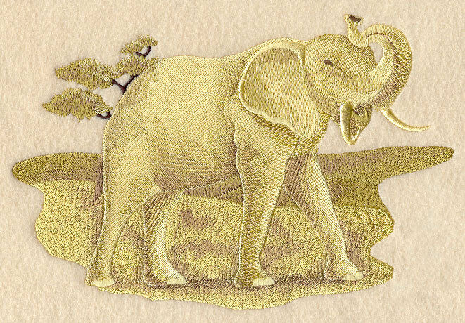 Embroidered Long-Sleeved T-Shirt - Sepia Safari Elephant E4298