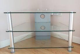 Glass & Brushed Chrome Corner TV Stand / Entertainment Unit - 3 Shelves (TVM-021)