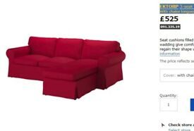 EKTORP 3-seat sofa / couch with chaise longue in nordvalla red
