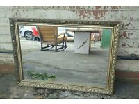 LARGE VINTAGE ORNATE GOLD MIRROR