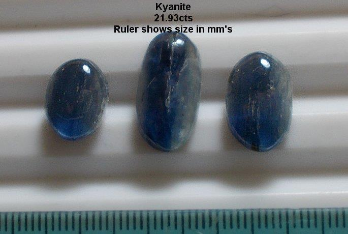 KYANITE, 21.93cts, PARCEL of 3, BEAUTIFUL MIXED BLUE, **NATURAL**, FREE SHIP