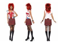 80S PUNK ROCKER FANCY DRESS SIZE 8/10 NO WIG GREAT FOR CHRISTMAS OR NEW YEARS PARTY