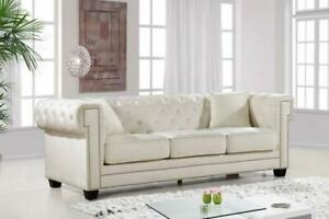 Meridian Furniture 614 Bowery Contemporary Sofa in Cream Tufted Velvet NEW ** SPRING SALE ** 5 CORNERS FURNITURE **