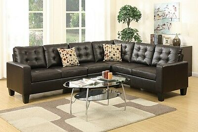 Espresso Faux Leather Sofa - Modern Espresso Faux Leather Sectional Sofa Set for Living Room