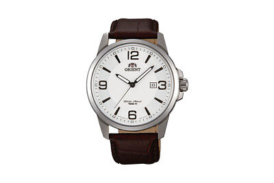 ORIENT WHITE DIAL DATE S.S. CASE BLACK LEATHER STRAP MEN'S WATCH FUNF6006W0 NEW