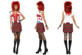 80S PUNK ROCKER FANCY DRESS OUTFIT SIZE 8/10 GREAT FOR PARTY ALSO HAVE WIG FOR SALE