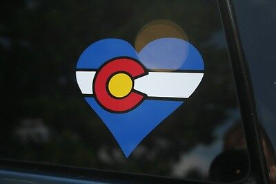 Die Cut Heart Shape - Colorado State Flag Heart Shape Die-Cut Sticker