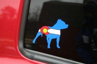 Colorado Flag Pitbull Die-cut Car Window Sticker