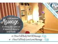 Massage Offers Glasgow - Hot Oil, Lomi Lomi - also available: Swedish, Deep Tissue, Sports
