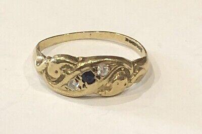 Vintage Hallmarked 9ct Gold Sapphire Cz Ring Size M Scrap Wear