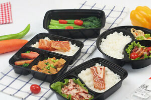 Microwavable Takeout Food Containers with Lids | 26-38oz | Black