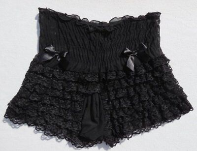 Sissy Costume (Men's Black Stretch Tiered Ruffles Frilly Lace Mesh Costume Play Sissy Panties)