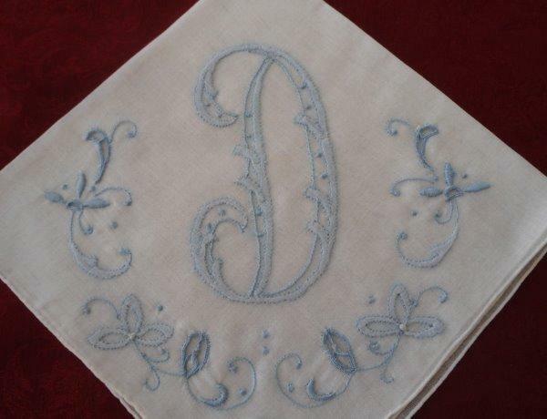 Vintage Madeira Wedding Hanky Monogram D Blue Embroidery Cutwork Bridal