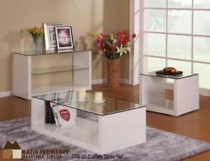 White Glass top Coffee Table on Sale (BD-2391)