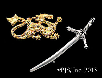 Wheel of Time Pin Set, Gold Plated Ashaman Dragon Pin Silver Dedecated Sword Pin