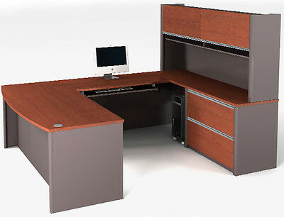 Bestar Connexion U Shape Shape Office Desk w/ Bordeaux & Slate Finish