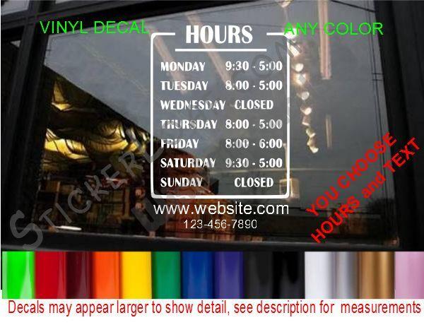 STORE HOURS OPERATION SIGN DECAL Window Door Store Grocery Deli Food Truck Stand