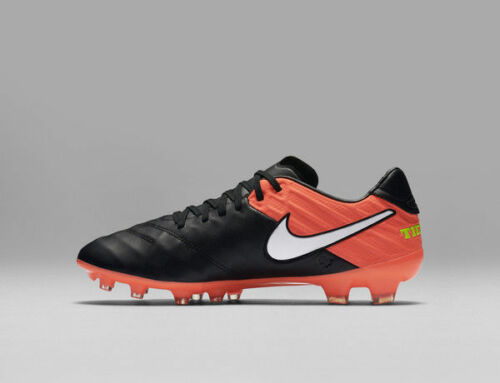 Nike Men's Tiempo Legacy II Fg Black/White Hyper Orange Volt Soccer Cleat 7 Men US 819218