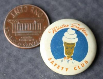 1950s Era Mr.Softee Ice Cream Safety Club pinback button with early mascot image