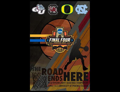 Ncaa Mens Basketball Final 4 2017 Official Poster Tar Heels  Oregon  Gonzaga
