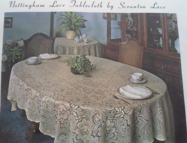 NOS Vintage Nottingham Lace Tablecloth Lansdowne Ecru Banquet Scranton