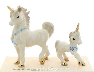 Hagen-Renaker Miniature Ceramic Figurine Papa and Baby Unicorn with Blue Garland