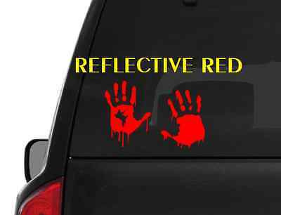 Reflective Bloody Hand Print (M49) Zombie Outbreak Vinyl Decal Sticker Car/Truck - Bloody Hand Print