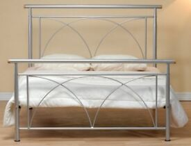 BRAND NEW IN BOX. 5ft King size silver tubular metal bed frame bedstead.