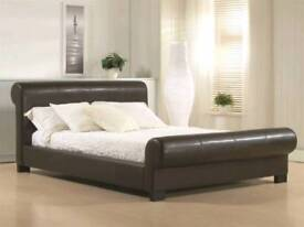 Double Brown Leather sleigh bed
