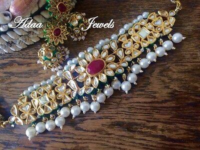 Indian Ethnic wedding jewellery set, gold kundan earrings Choker Necklace