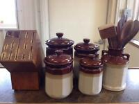 Canister Set with Utensils and Knife Block